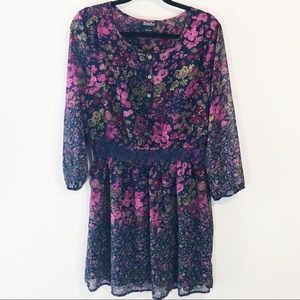 Lucky Brand boho floral purple blue lined dress